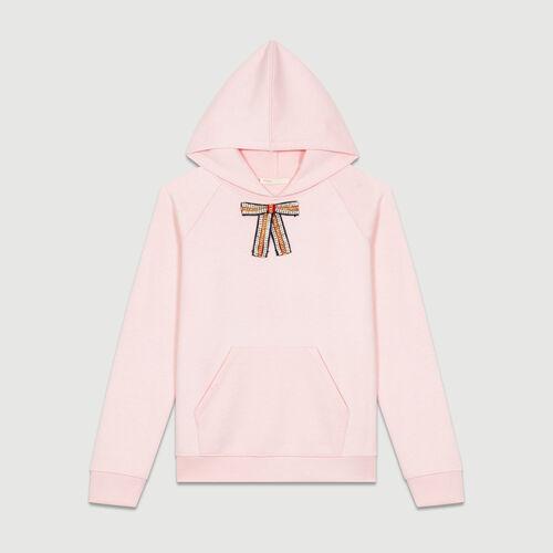 Sudadera con capucha y lazo extraíble : T-Shirts color Rosa Claro