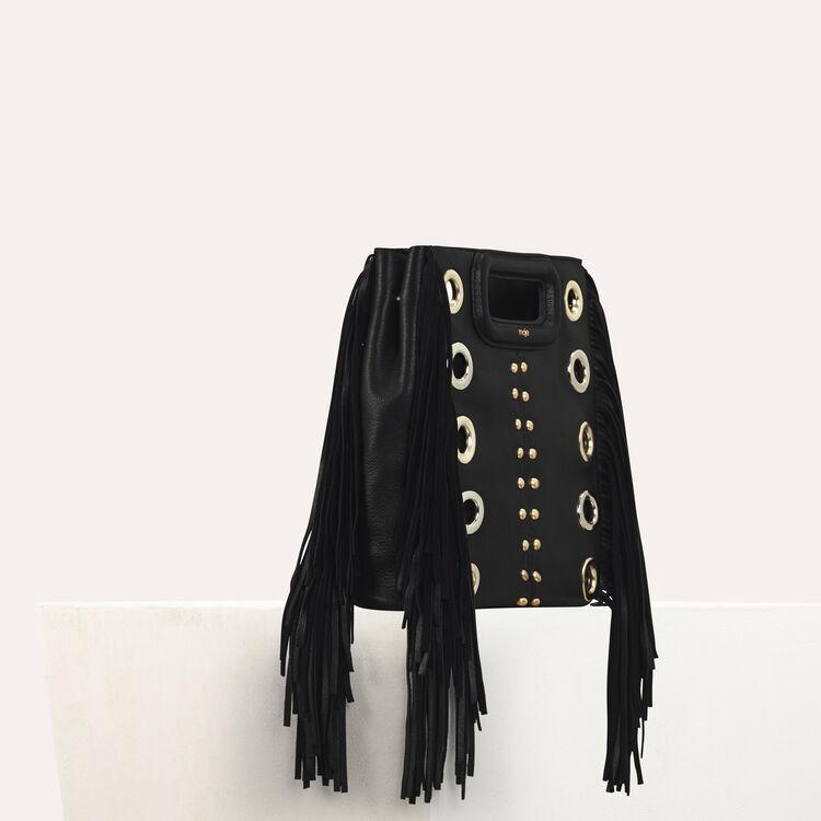 Bolso M de cuero con tachuelas y aretes : Bolsos M color Negro