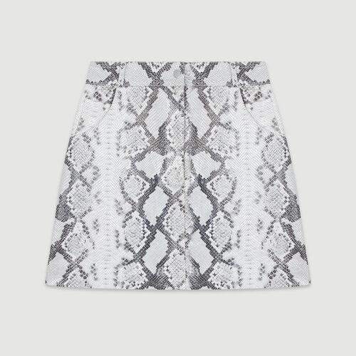 Falda corta de cuero efecto píton : Faldas y shorts color IMPRIME