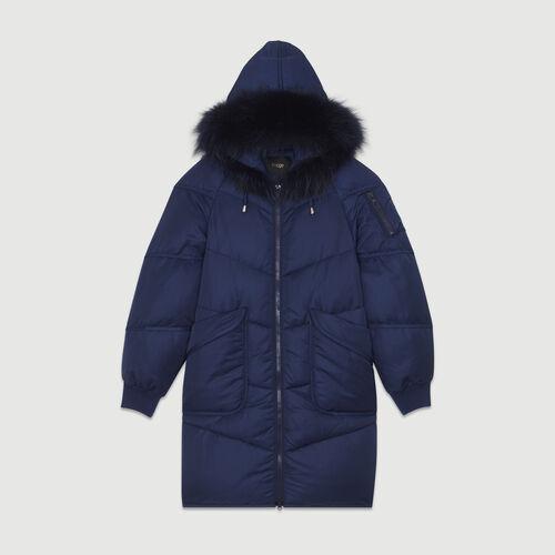 Abrigo largo con pelo : Nueva Colección color Azul Marino