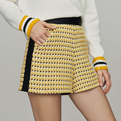 Short de Tweed y lurex : Faldas y shorts color Amarillo