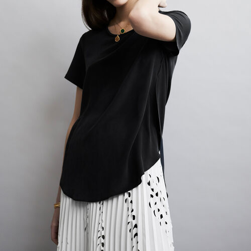 Round neck silk top : Tops color Negro