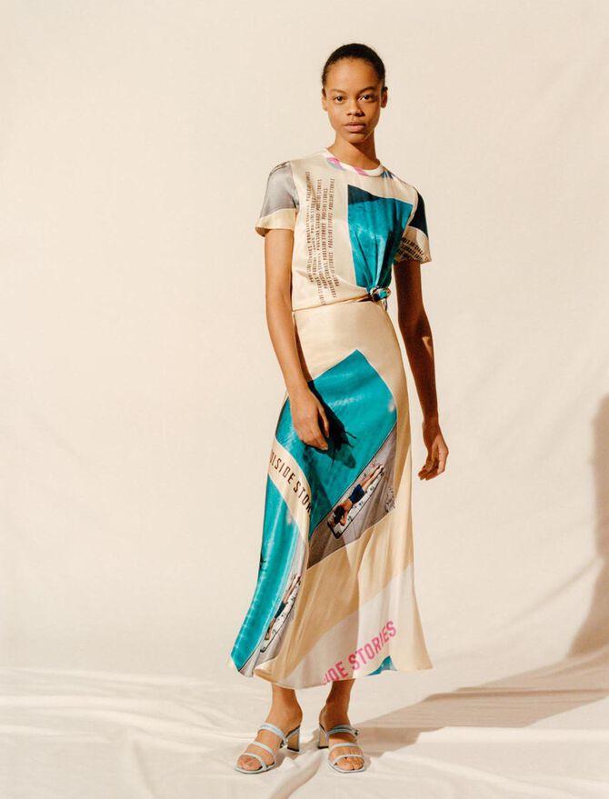 Vestido pañuelo estampado de satén - Vestidos - MAJE