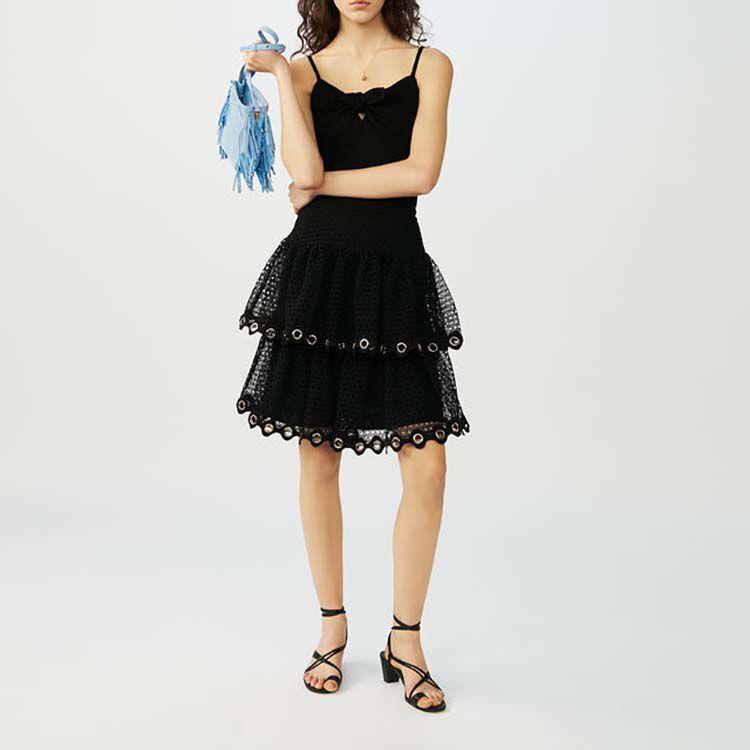Falda de guipur con volantes : Faldas y shorts color Negro