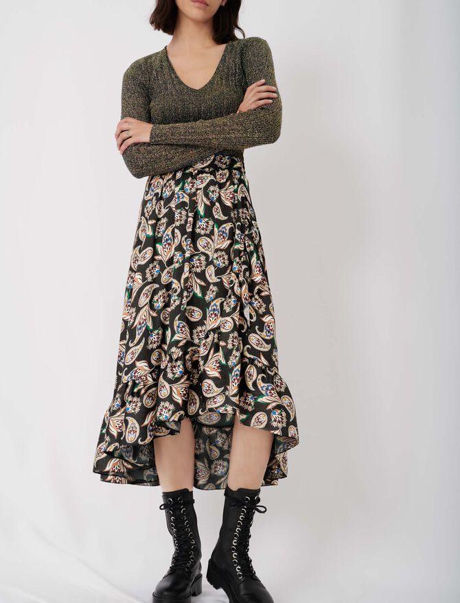 Falda larga estampada con volantes - Nueva colección - MAJE