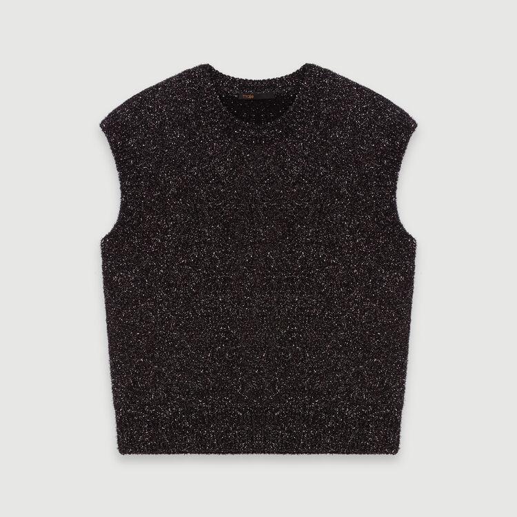 Jersey sin mangas en Lurex : Jerseys y cárdigans color Plateado