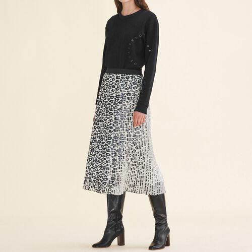 Falda plisada con estampado de leopardo - Faldas y shorts - MAJE