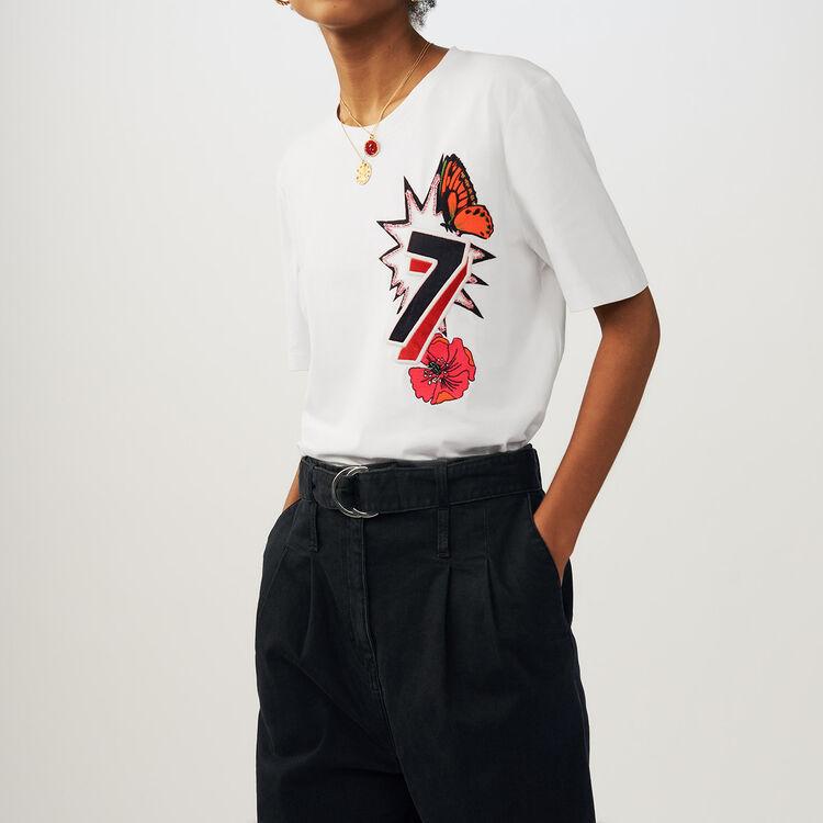 Camiseta de algodón con bordados 77 : staff private sale color ECRU