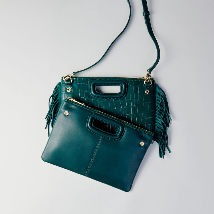 Cartera M Duo cuero en relieve cocodrilo : M Duo color VERT