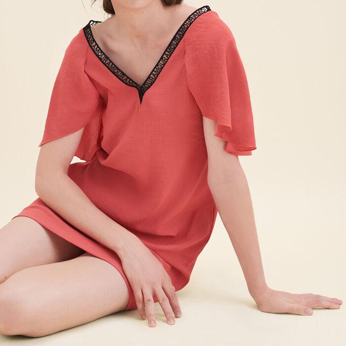 Vestido recto de crepé : Vestidos color Naranja