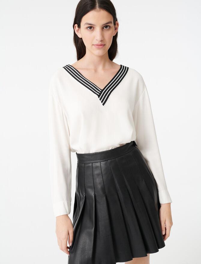 Top en crêpe avec détail contrasté - Tops y Camisas - MAJE
