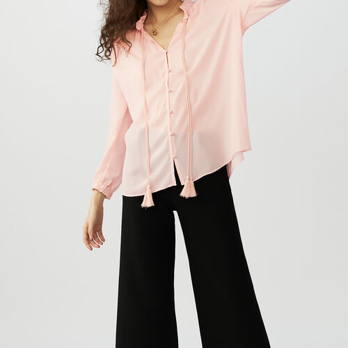 Blouse shirt with drawstring : Camisas color Rosa