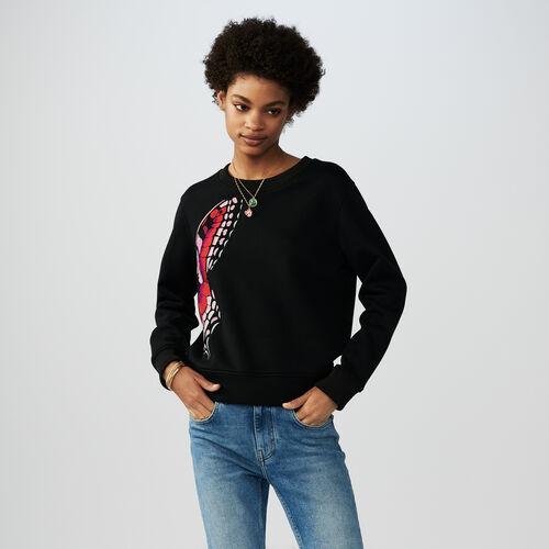 Sudadera de algodón con bordados : Sudareras color Negro