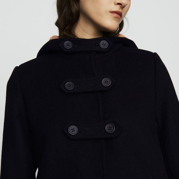 Abrigo largo forrada de piel falsa : Abrigos color Negro