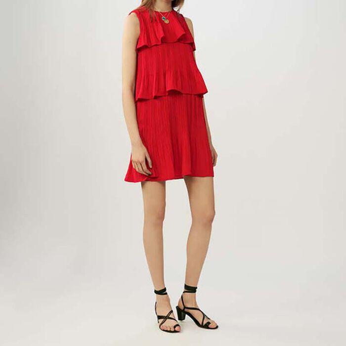 Vestido sin mangas plisado con volantes : Vestidos color ROUGE