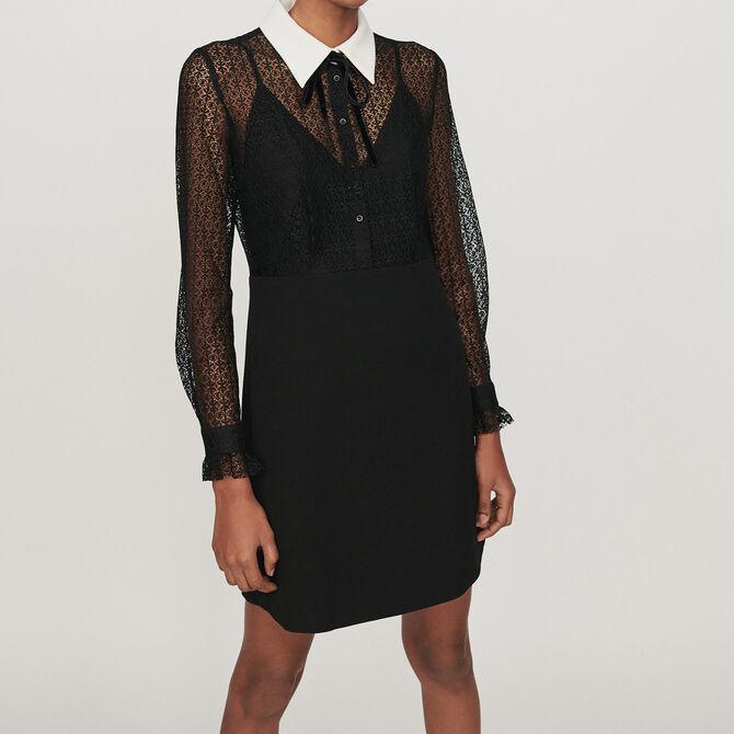 Vestido guipur-crepé cuello a contraste - Ver todo - MAJE