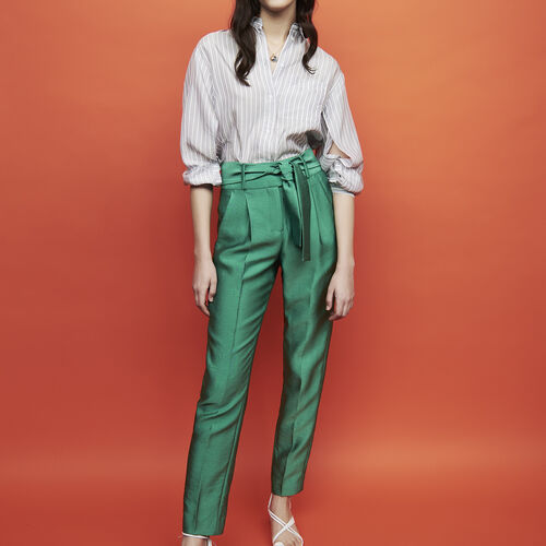 Trousers with knotted belt : Pantalones color Verde