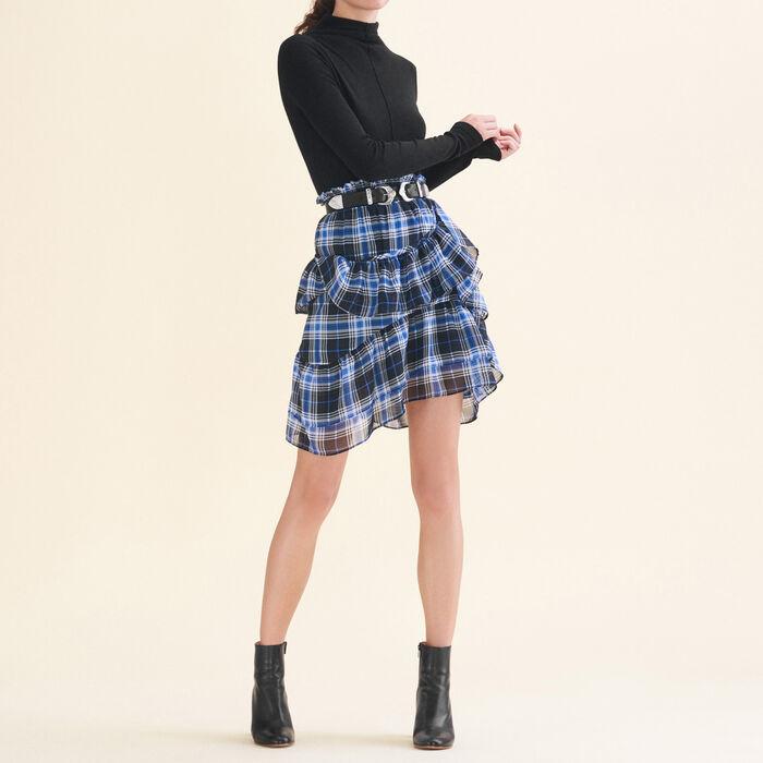 Falda a cuadros con volantes - Faldas y shorts - MAJE