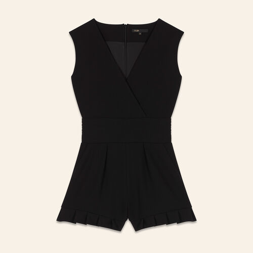 Monoshort sin mangas de crepé : Faldas y shorts color Negro
