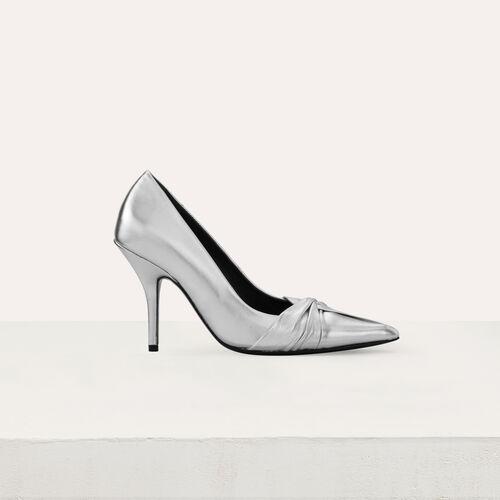 Zapatos de salón drapeados : Zapatos de tacón color Plateado