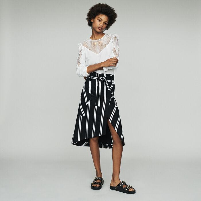 Falda midi con rayas : Faldas y shorts color Rayas