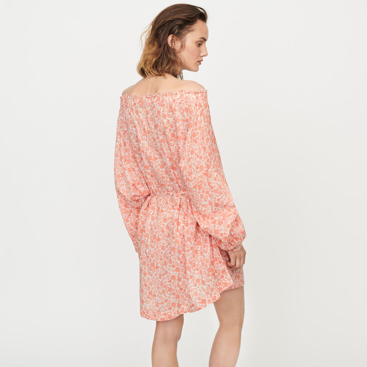 Vestido corto floral en velo de algodón : Vestidos color Coral
