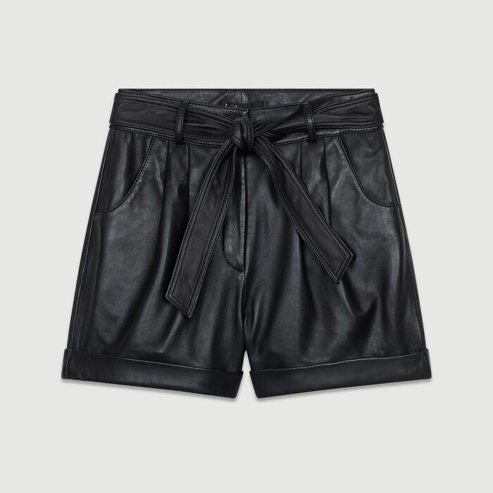 Short ancho de cuero : Faldas y shorts color Negro