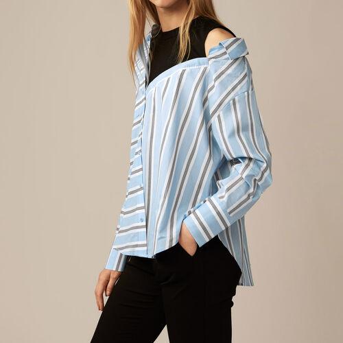 Camisa desestructurada a rayas : Tops color Azul Celeste