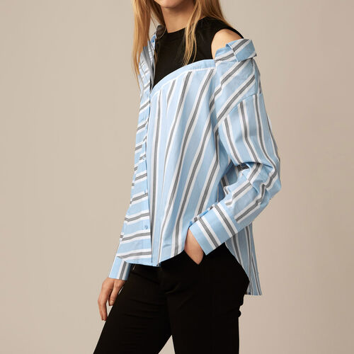 Camisa destructurada en popelina rayada : Camisas color Azul Celeste