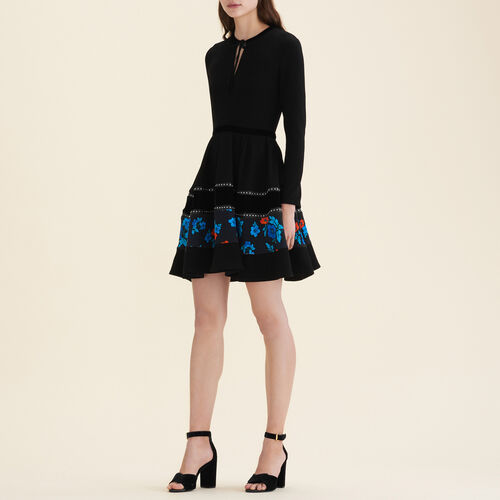 Vestido patinadora con mezcla de géneros : Vestidos color Negro