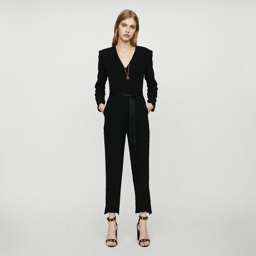 Mono-pantalón de crepé : Pantalones color Negro