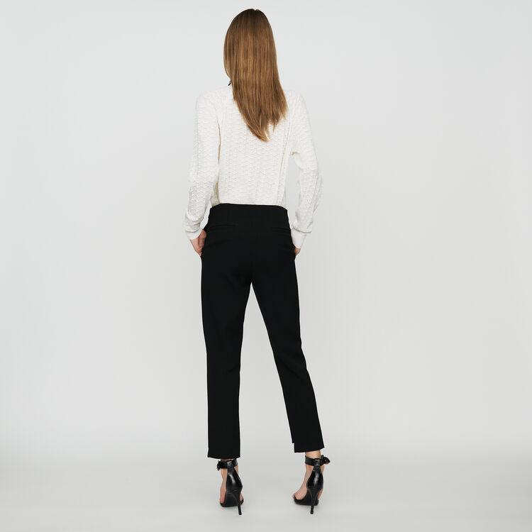 Pantalón recto de crepé : Pantalones y Jeans color Negro