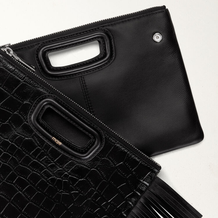 Cartera M Duo en croco : M Duo color Negro