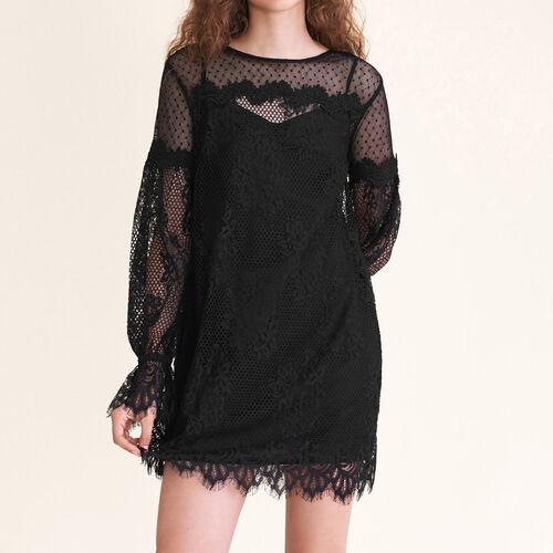 Vestido corto de encaje y plumetis : Vestidos color Negro