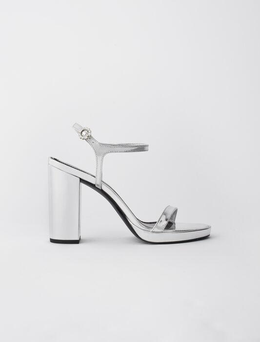 Sandalias de tacón en cuero metalizado : Todos los zapatos color Plateado