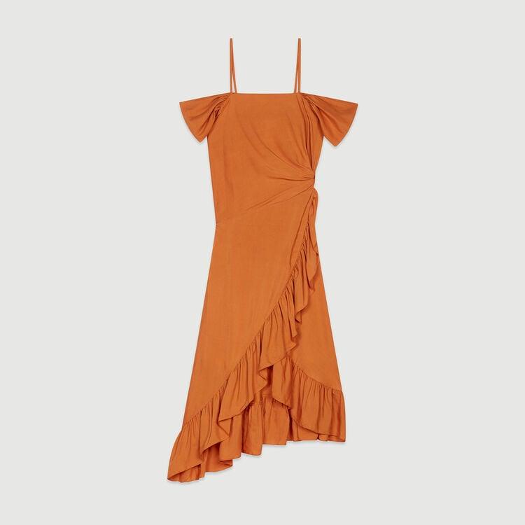 Vestido midi cruzado : Vestidos color Terracota