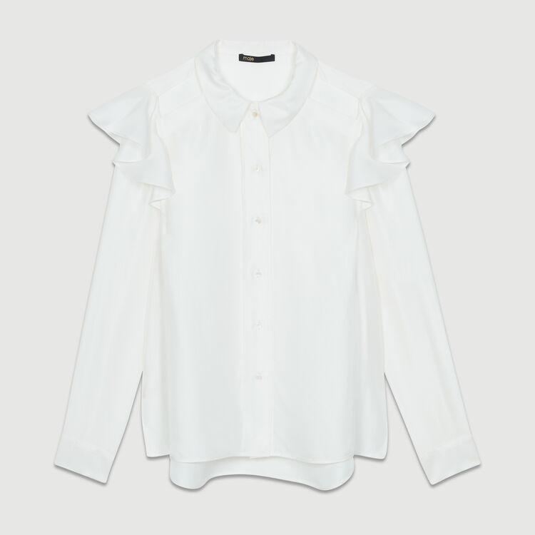 Blusa de seda avolantada : Camisas color Blanco