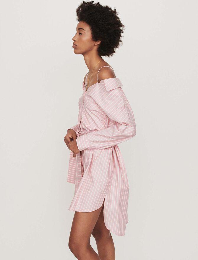 Vestido camisa oversize rayada - Vestidos - MAJE