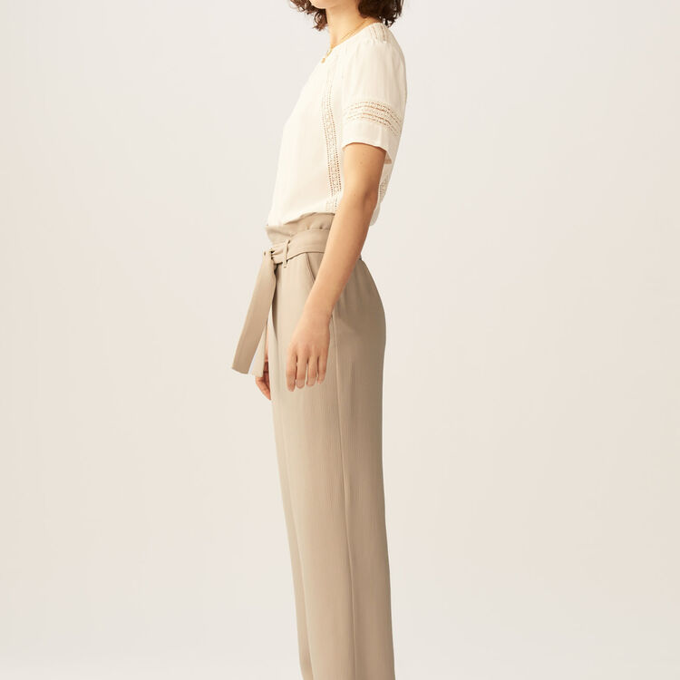 Pantalon ancho con cinturón : Pantalones color Beige