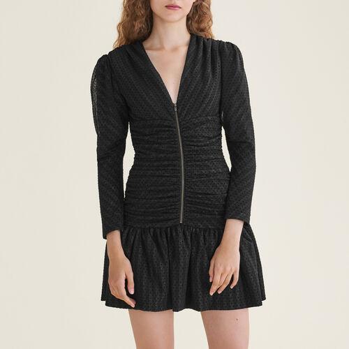 Vestido corto drapeado : Vestidos color Negro