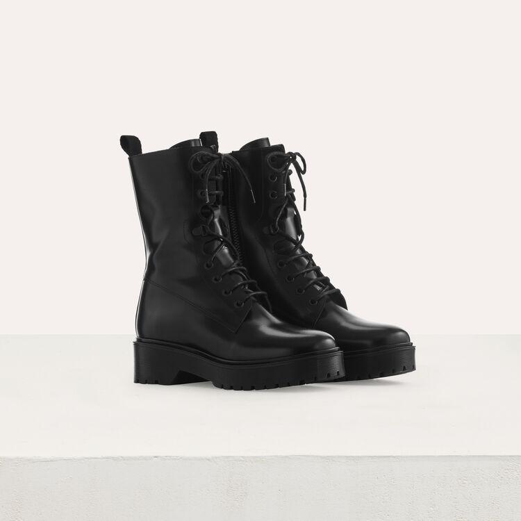 Botines de cuero tipo ranger : Tartan color Negro