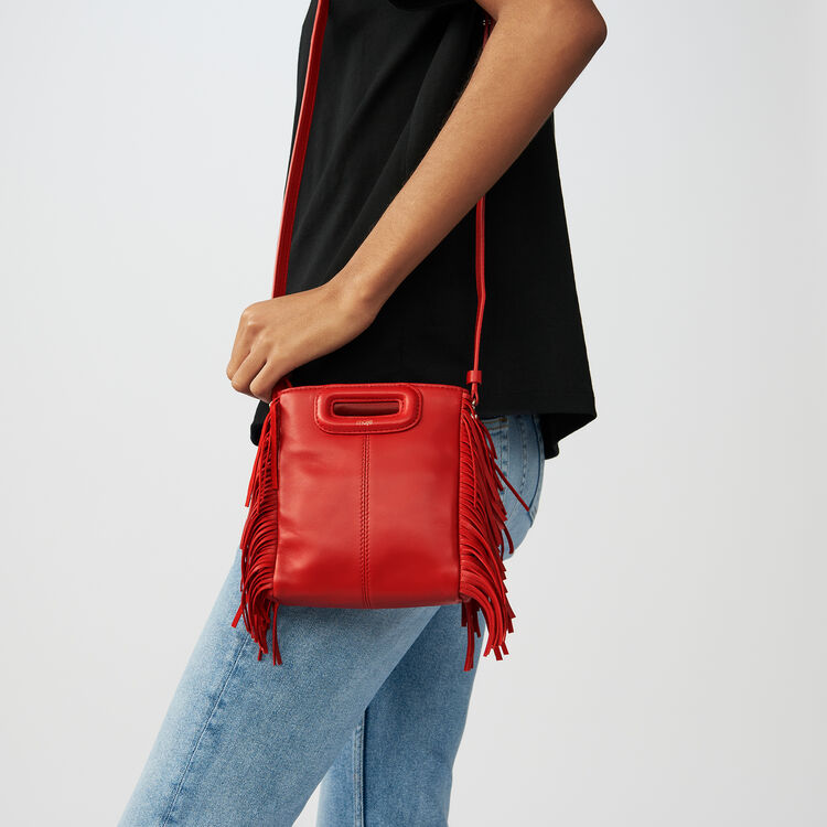 Mini bolso M de cuero con flecos : staff private sale color RED