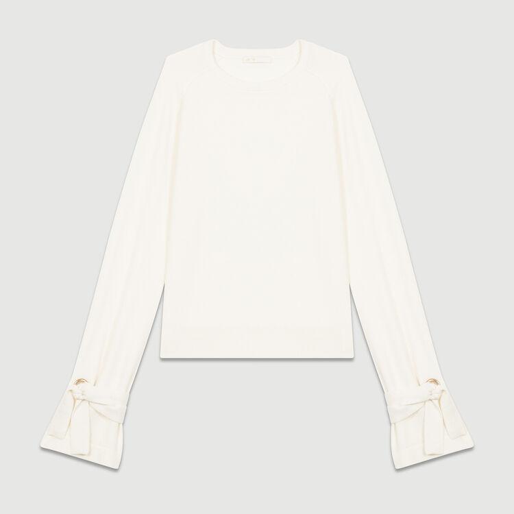 Jersey fino con lazos en los puños : Malla color Crudo
