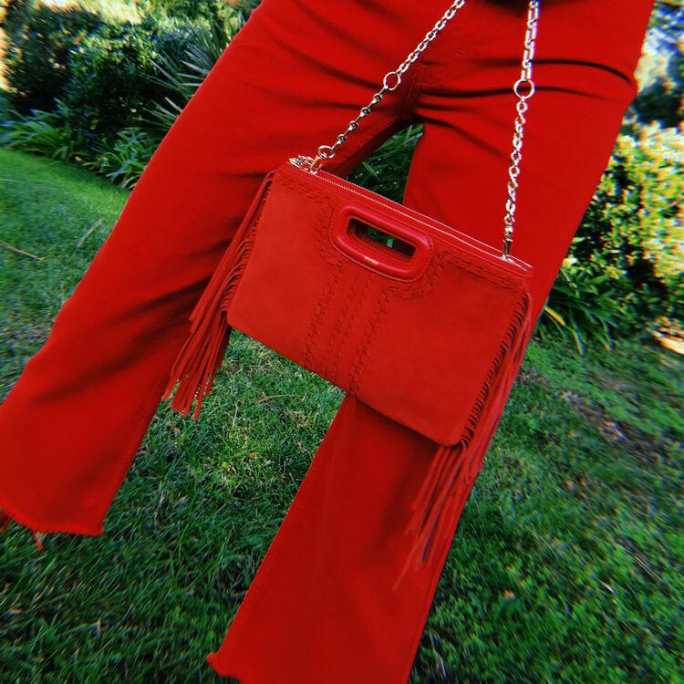 Cartera M Duo de gamuza trenzado y cuero : M Duo color Rojo