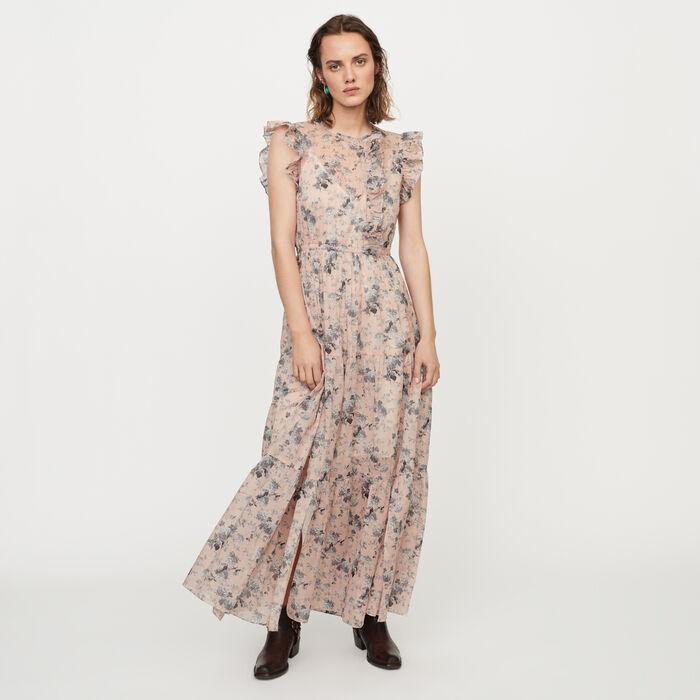 Vestido largo velo de algodón estampado : Vestidos color Nude