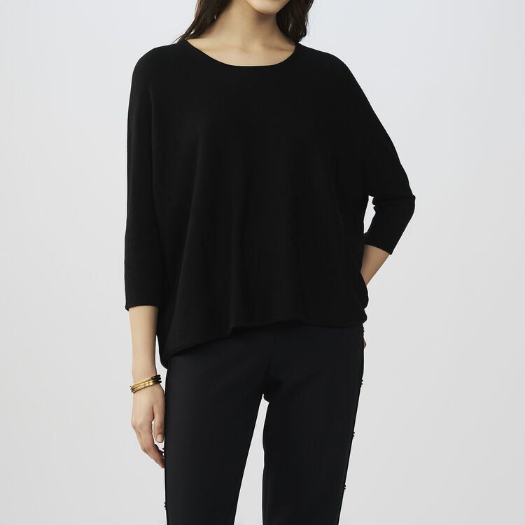 Jersey oversize de seda y cachemira : Malla color Negro