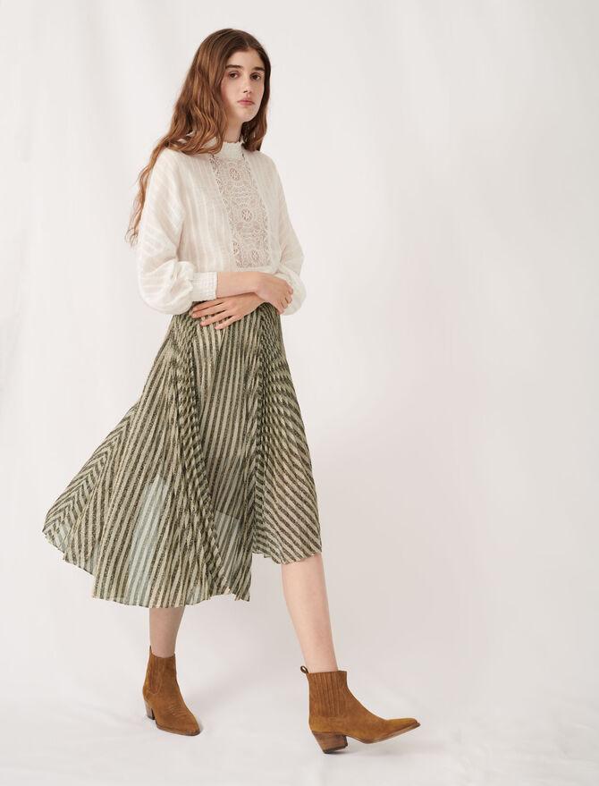 Falda midi plisada de lúrex bicolor - Faldas y shorts - MAJE