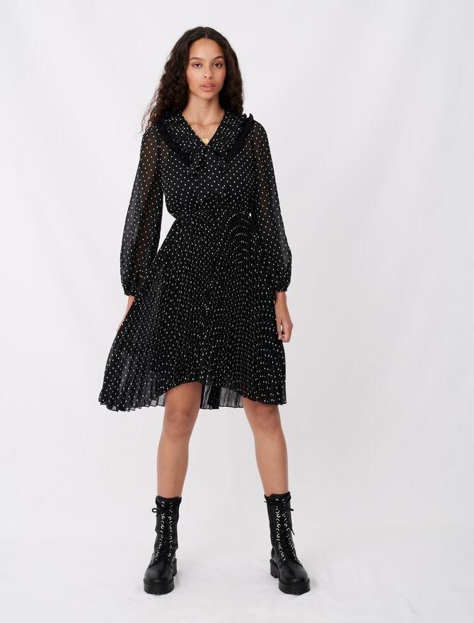 Vestido muselina plisado efecto topos - Vestidos - MAJE