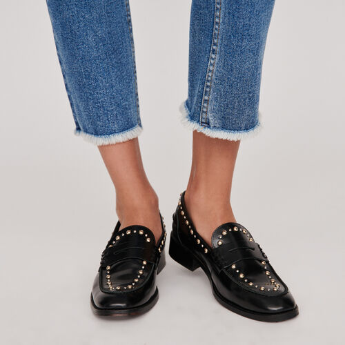 Mocasines de cuero brillante y tachuelas : Zapatos planos color Negro