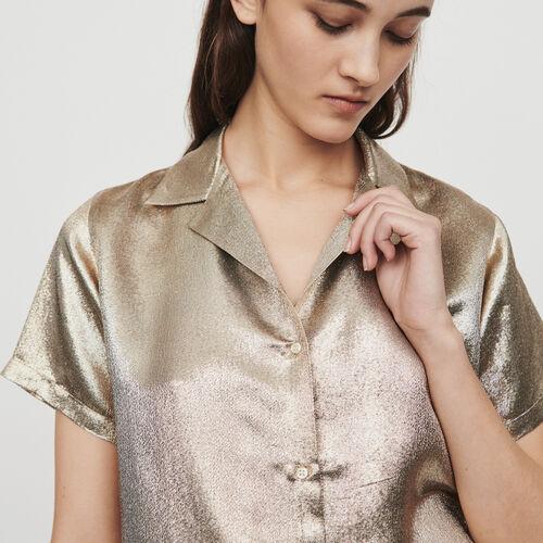 Blusa de seda mezclada tipo pijama : Tops y Camisas color Dorado